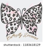 Stock vector butterfly illustration with animal print 1183618129