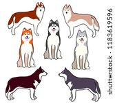 a set of illustrations of dogs. ... | Shutterstock .eps vector #1183619596