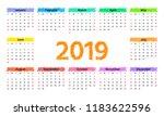 2019 calendar. vector. week... | Shutterstock .eps vector #1183622596