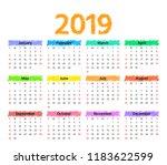 2019 calendar. vector. week... | Shutterstock .eps vector #1183622599