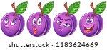 plum. fruit food concept. emoji ... | Shutterstock .eps vector #1183624669