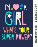 girl slogan super power | Shutterstock .eps vector #1183633069