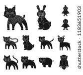 toy animals black icons in set... | Shutterstock .eps vector #1183651903