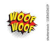 word woof woof in retro comic... | Shutterstock .eps vector #1183653619