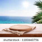 pizza board  with tablecloth on ... | Shutterstock . vector #1183660756
