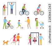 a set of people engaged in an... | Shutterstock .eps vector #1183661263
