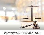 justice scales and books and... | Shutterstock . vector #1183662580