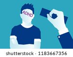 adhd purple stamp on a child... | Shutterstock .eps vector #1183667356