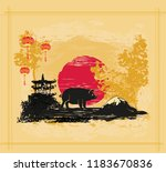chinese zodiac the year of pig | Shutterstock .eps vector #1183670836