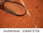 broken tennis racket   Shutterstock . vector #1183672726
