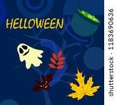 halloween autumn fallen leaves...   Shutterstock .eps vector #1183690636
