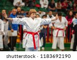 guy karate does kata at the... | Shutterstock . vector #1183692190