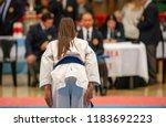 girl karatek preparing to make... | Shutterstock . vector #1183692223