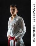 guy karate on a dark background | Shutterstock . vector #1183692226