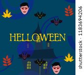 halloween autumn fall leaves... | Shutterstock .eps vector #1183694206