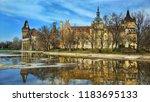 beautiful castle reflected in... | Shutterstock . vector #1183695133