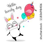 cute rabbit flying with... | Shutterstock .eps vector #1183698406