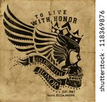 winged human skull with banner... | Shutterstock .eps vector #118369876