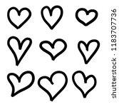 set of nine hand drawn hearts.... | Shutterstock .eps vector #1183707736