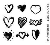 set of nine hand drawn hearts.... | Shutterstock .eps vector #1183707766