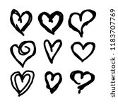 set of nine hand drawn hearts.... | Shutterstock .eps vector #1183707769