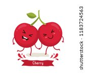 cute cherry character  cherry... | Shutterstock .eps vector #1183724563