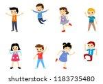 happy school multiracial... | Shutterstock .eps vector #1183735480