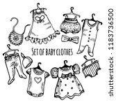 hand drawn set of baby clothes... | Shutterstock .eps vector #1183736500
