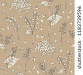 seamless pattern with buckwheat ... | Shutterstock .eps vector #1183739596