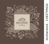 background with mustard  plant  ... | Shutterstock .eps vector #1183739626