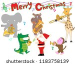 christmas concert at the zoo.... | Shutterstock .eps vector #1183758139