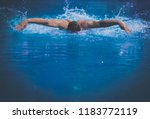 male swimmer at the swimming... | Shutterstock . vector #1183772119