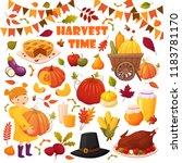 set cartoon autumn elements for ... | Shutterstock .eps vector #1183781170