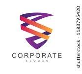 shield letter s ribbon style ... | Shutterstock .eps vector #1183795420