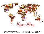 spices and herbs on world map.... | Shutterstock .eps vector #1183796086