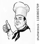 chef character showing big... | Shutterstock . vector #1183803709