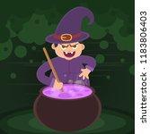 a halloween witch   Shutterstock .eps vector #1183806403