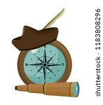 compass with hat and monocular...   Shutterstock .eps vector #1183808296