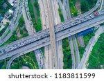 the curve of suspension bridge  ...   Shutterstock . vector #1183811599