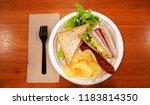 breakfast at the restaurant.... | Shutterstock . vector #1183814350