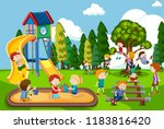 children playing at playground... | Shutterstock .eps vector #1183816420