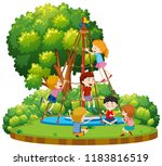 children climbing outdoor rope... | Shutterstock .eps vector #1183816519