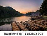 Bamboo Raft And Twilight Sky At ...