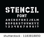 stencil font. vector alphabet... | Shutterstock .eps vector #1183818850