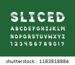 sliced font. vector alphabet... | Shutterstock .eps vector #1183818886
