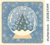 vintage card. crystal snowball. ...   Shutterstock .eps vector #1183819399