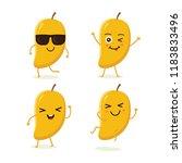 cute vector set of mango fruit... | Shutterstock .eps vector #1183833496