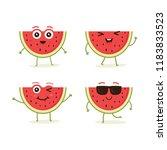cute vector set of watermelon... | Shutterstock .eps vector #1183833523