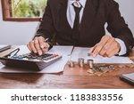 businessman hand using... | Shutterstock . vector #1183833556
