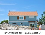 New Beach House under Construction - stock photo